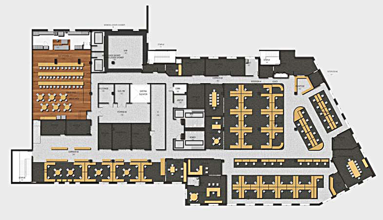 Color 2d graphics floor plans for Interactive office floor plan