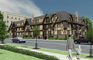 Architectural 3d graphic rendering of multifamily building